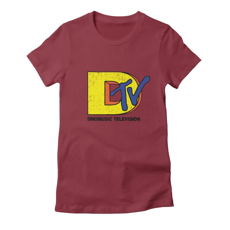 Dinomusic Television Women's Fitted T-Shirt by Daletheskater