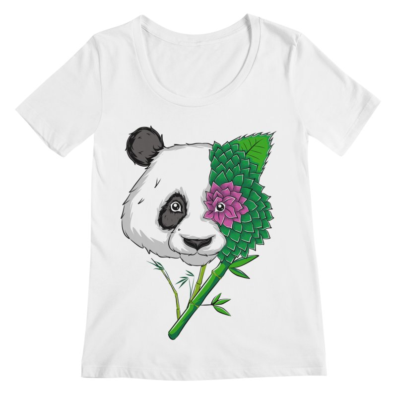 Oso panda -flower Women's Scoopneck by damian's Artist Shop