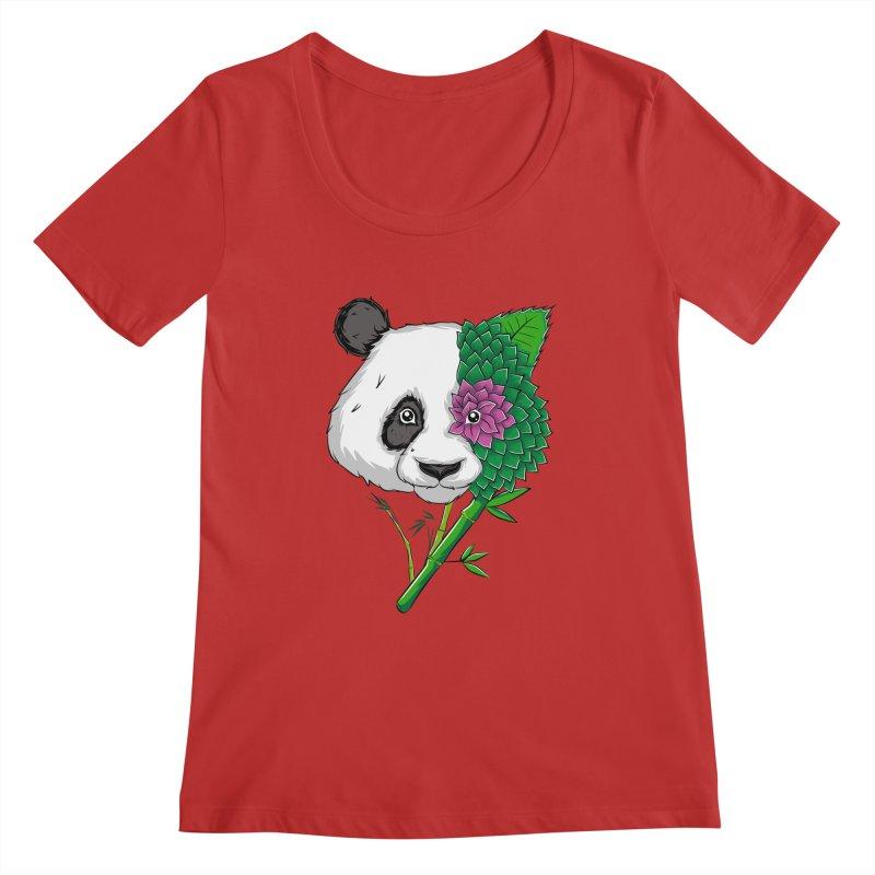 Oso panda -flower Women's Scoopneck by damian's Artist Shop
