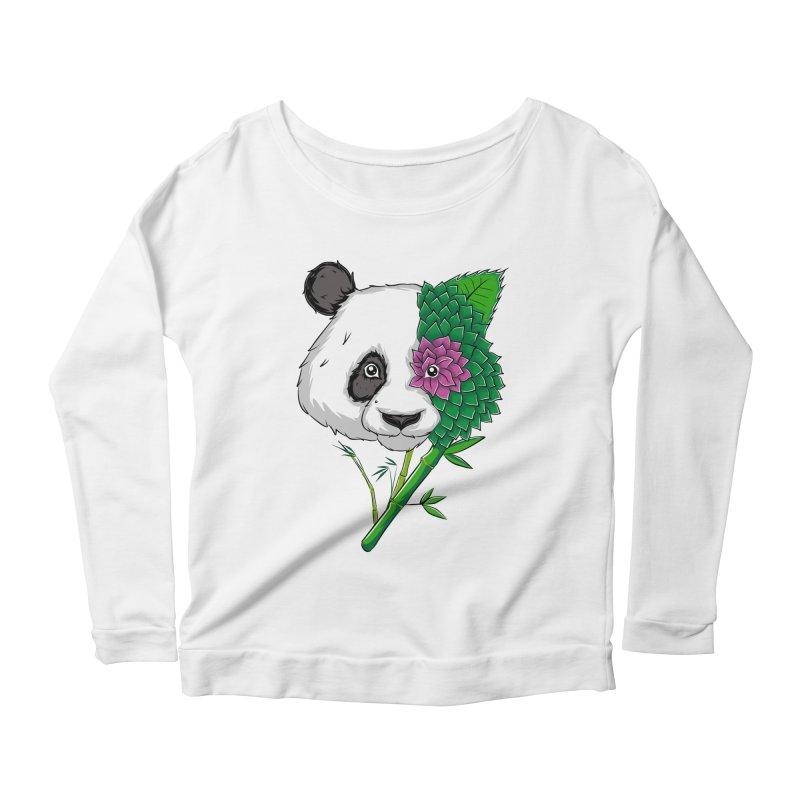 Oso panda -flower Women's Longsleeve Scoopneck  by damian's Artist Shop