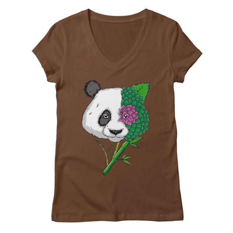Oso panda -flower Women's V-Neck by damian's Artist Shop