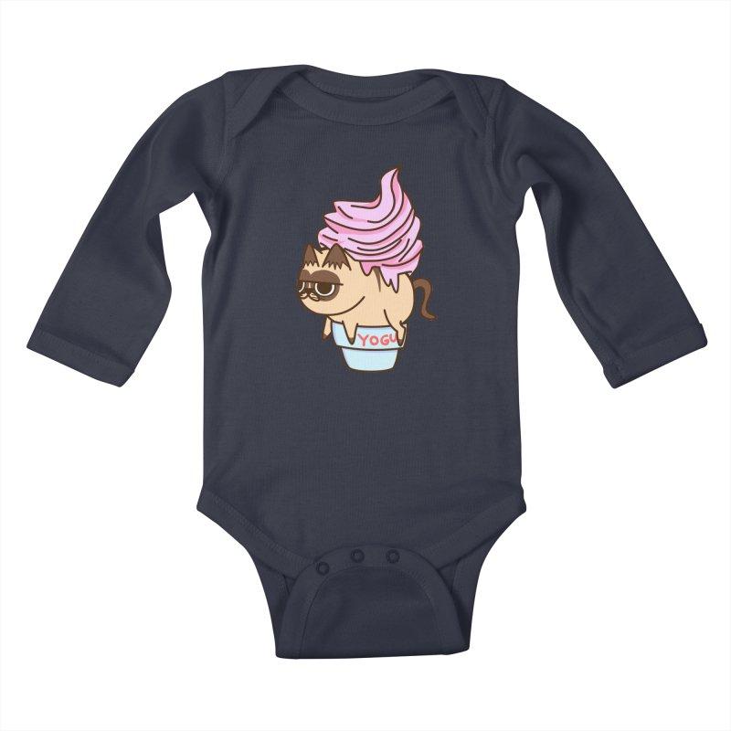 Yogur cat Kids Baby Longsleeve Bodysuit by damian's Artist Shop