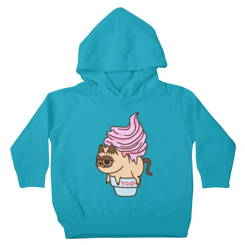 Yogur cat Kids Toddler Pullover Hoody by damian's Artist Shop