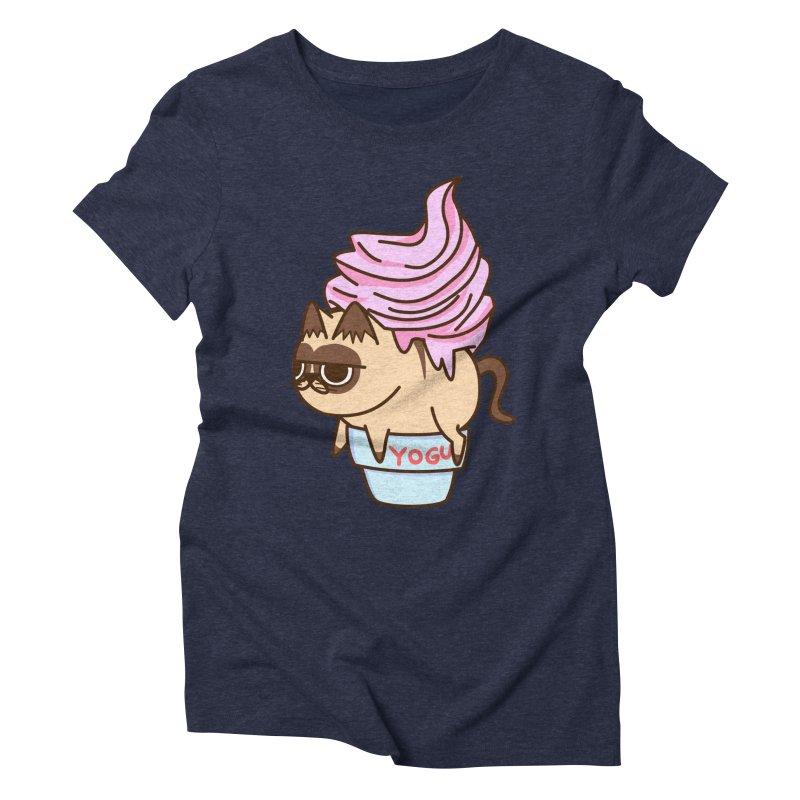 Yogur cat Women's Triblend T-Shirt by damian's Artist Shop