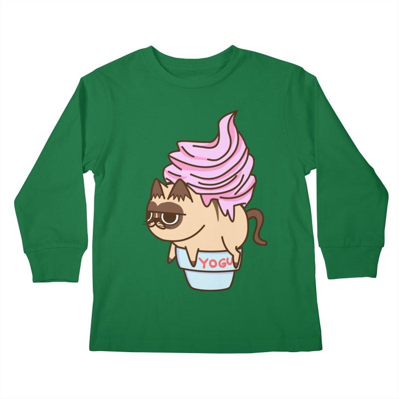 Yogur cat Kids Longsleeve T-Shirt by damian's Artist Shop