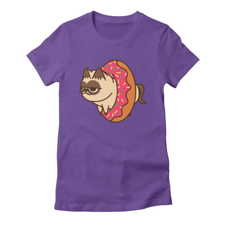 donuts  cat Women's Fitted T-Shirt by damian's Artist Shop