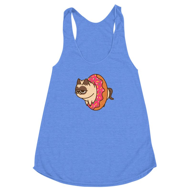 donuts  cat Women's Racerback Triblend Tank by damian's Artist Shop
