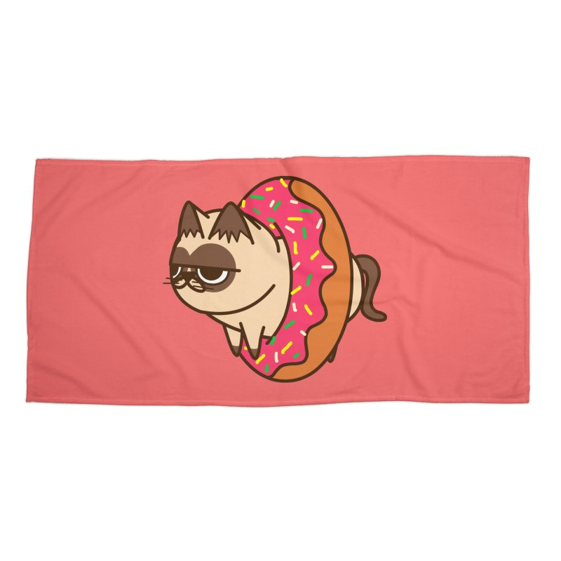 donuts  cat Accessories Beach Towel by damian's Artist Shop