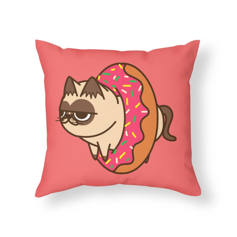 donuts  cat Home Throw Pillow by damian's Artist Shop
