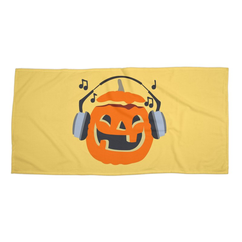 Halloween Music Accessories Beach Towel by damian's Artist Shop