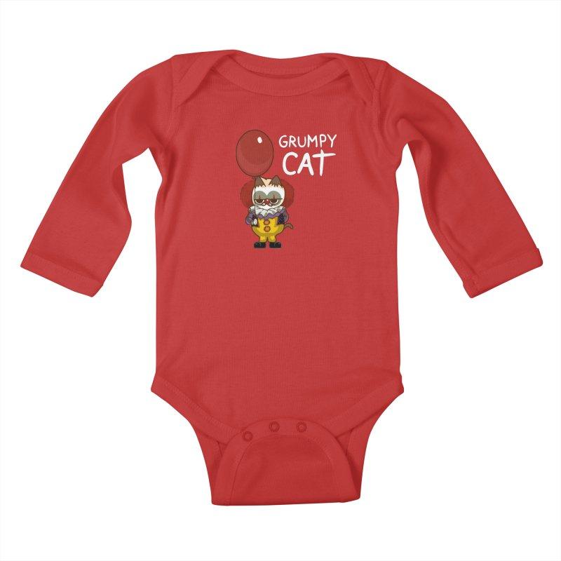 clown cat Kids Baby Longsleeve Bodysuit by damian's Artist Shop