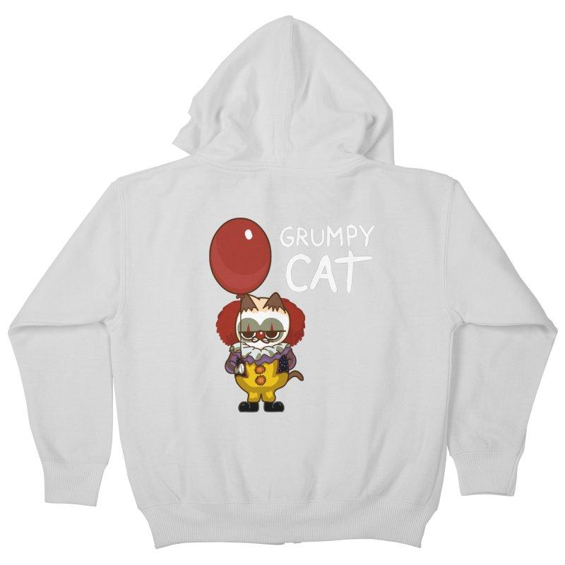 clown cat Kids Zip-Up Hoody by damian's Artist Shop