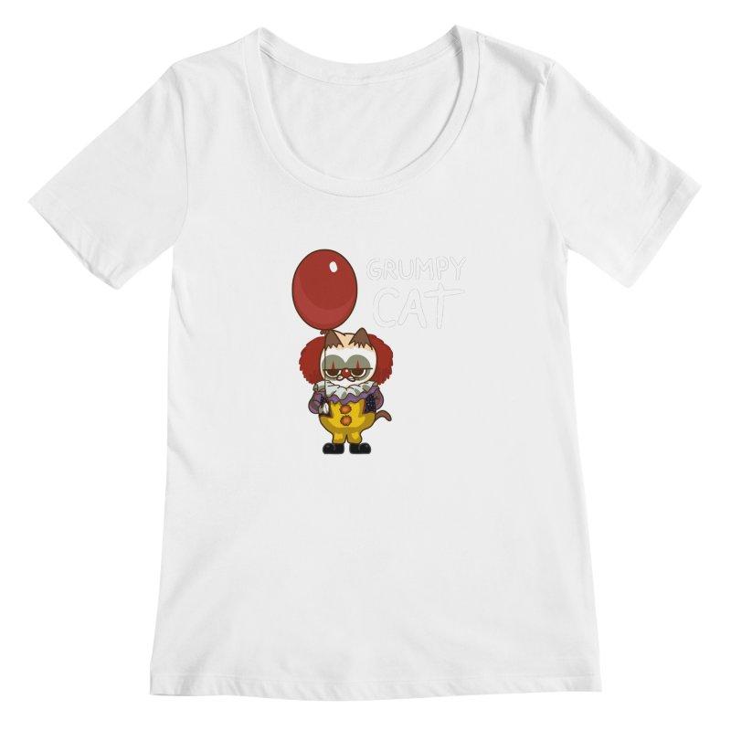 clown cat Women's Scoopneck by damian's Artist Shop