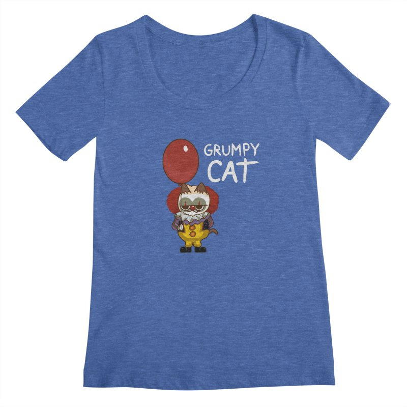clown cat Women's Scoopneck by damian's Artist Shop