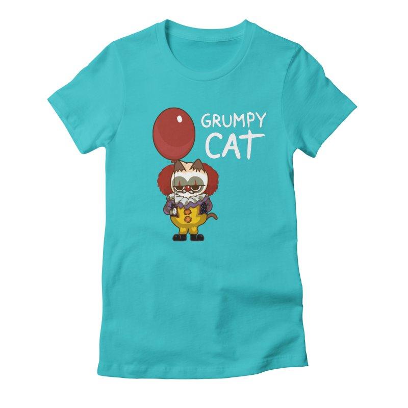 clown cat Women's Fitted T-Shirt by damian's Artist Shop