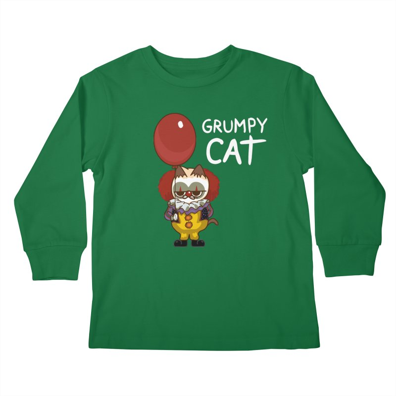 clown cat Kids Longsleeve T-Shirt by damian's Artist Shop