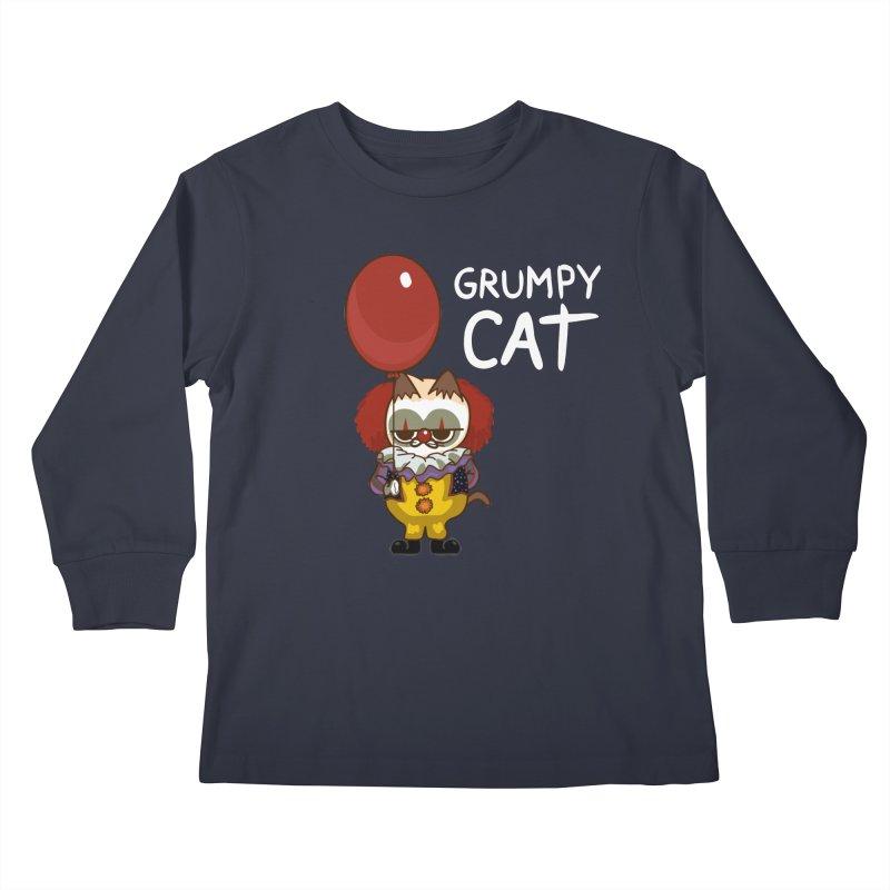 clown cat Kids Longsleeve T-Shirt by damian's Artist Shop