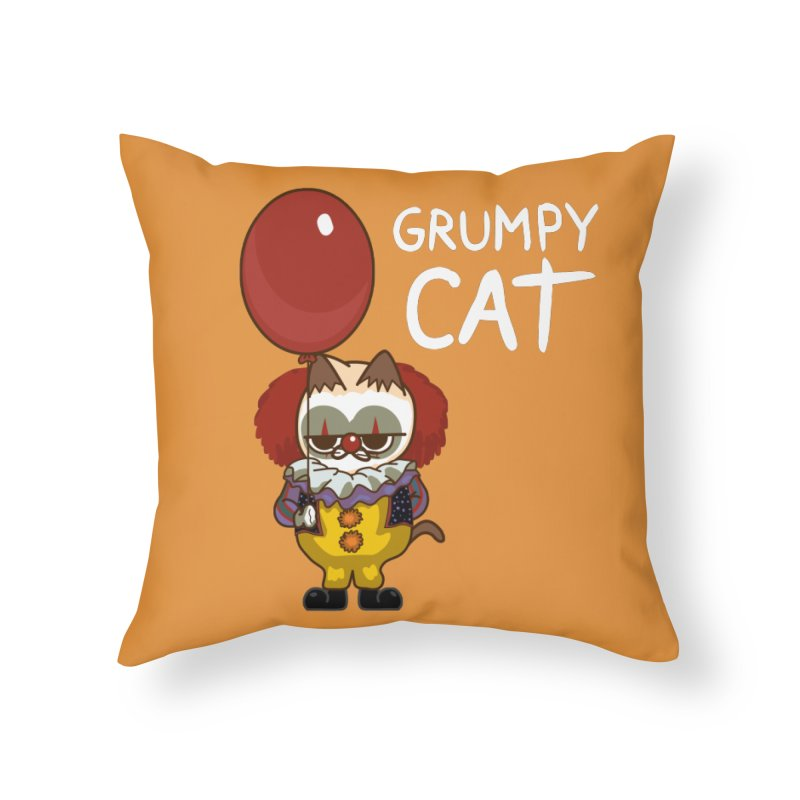 clown cat Home Throw Pillow by damian's Artist Shop