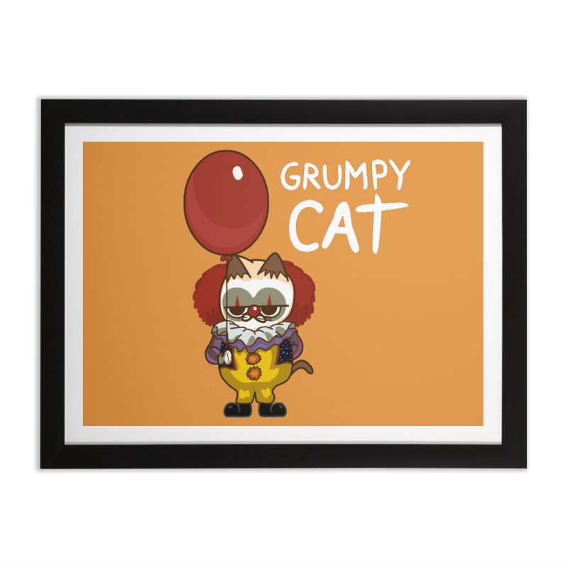 clown cat Home Framed Fine Art Print by damian's Artist Shop
