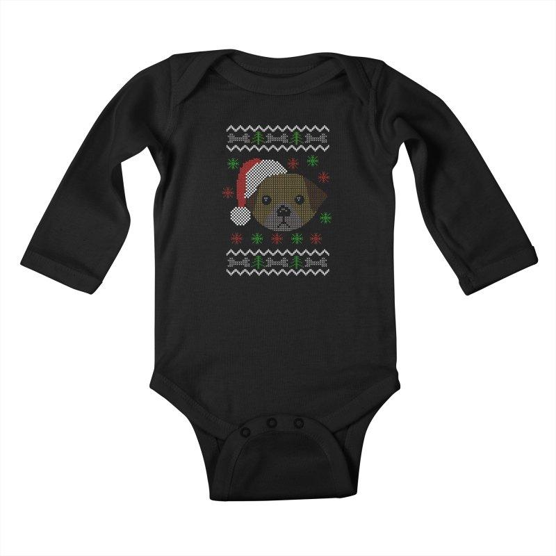 Navidad Dog Kids Baby Longsleeve Bodysuit by damian's Artist Shop
