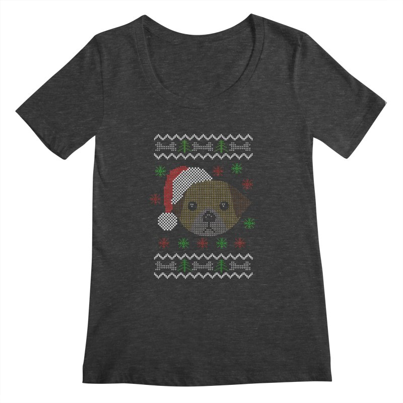 Navidad Dog Women's Scoopneck by damian's Artist Shop