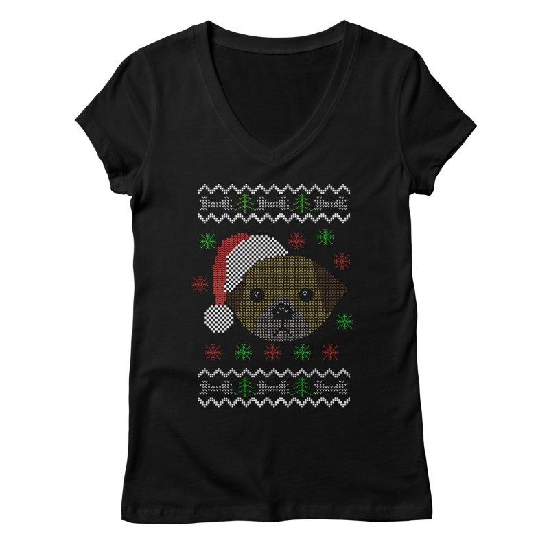 Navidad Dog Women's V-Neck by damian's Artist Shop
