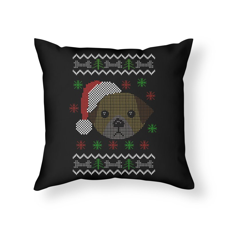 Navidad Dog Home Throw Pillow by damian's Artist Shop