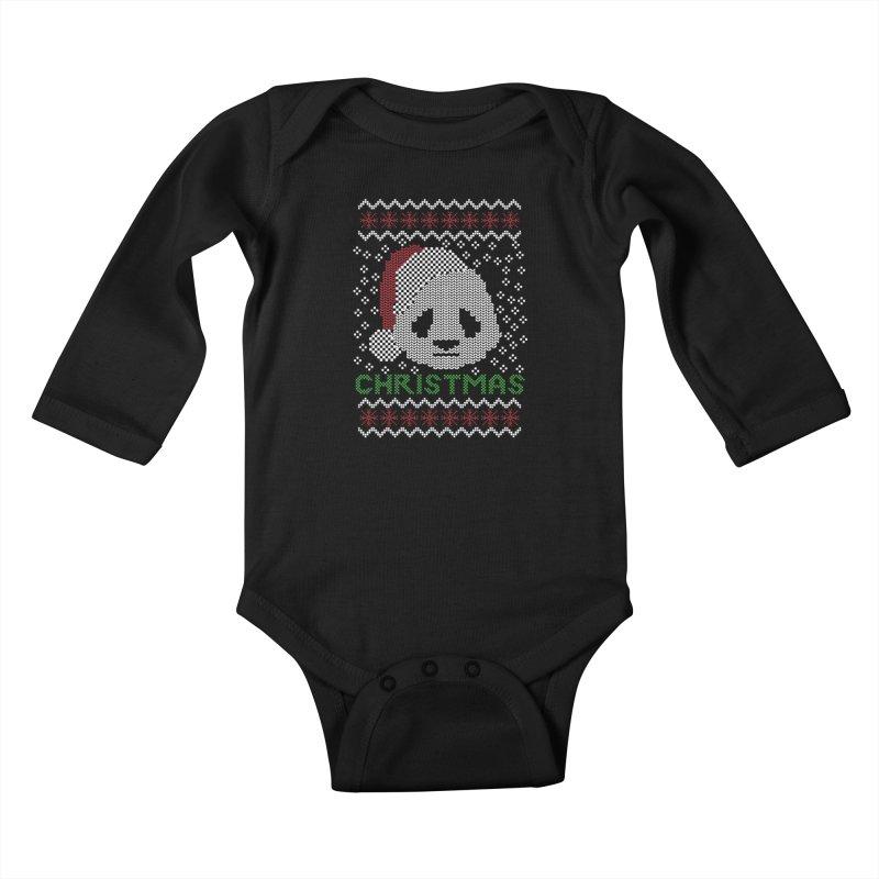 Oso Panda Christmas Kids Baby Longsleeve Bodysuit by damian's Artist Shop