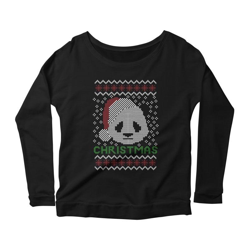 Oso Panda Christmas Women's Longsleeve Scoopneck  by damian's Artist Shop