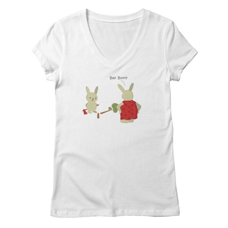Lindo conejo travieso Women's V-Neck by damian's Artist Shop