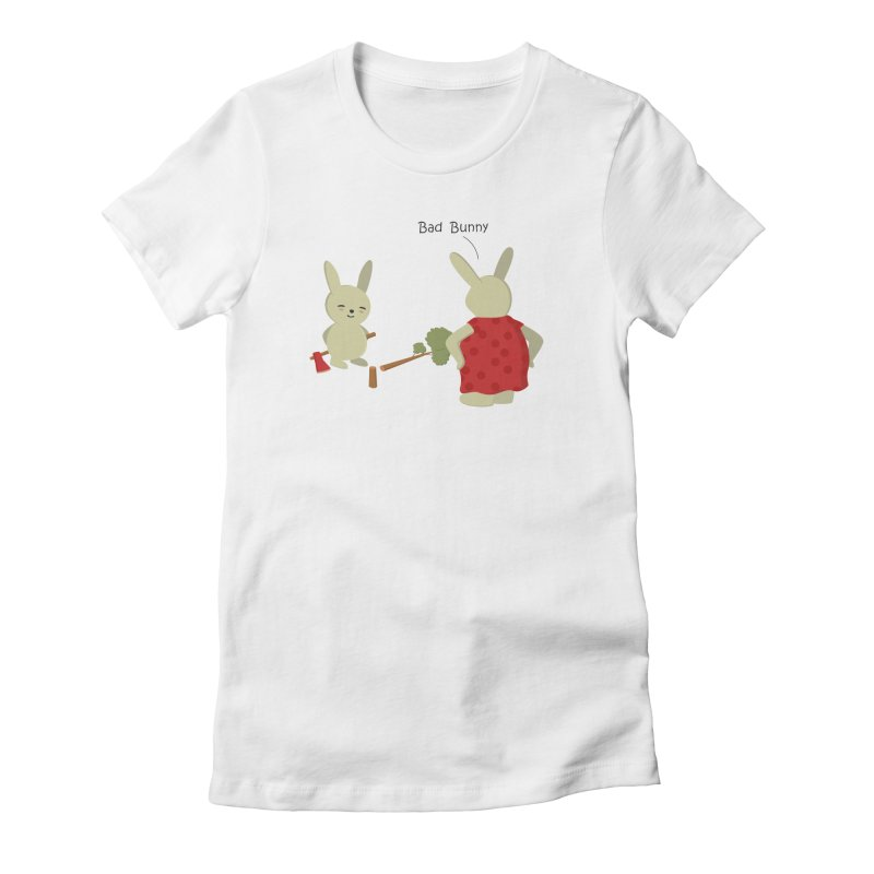 Lindo conejo travieso Women's Fitted T-Shirt by damian's Artist Shop