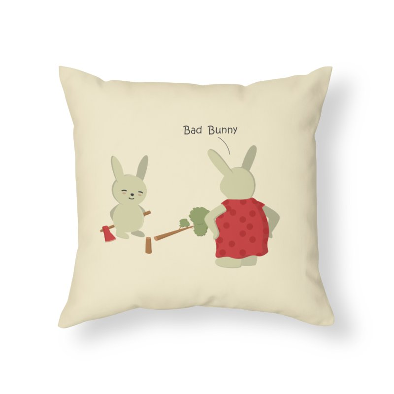 Lindo conejo travieso Home Throw Pillow by damian's Artist Shop