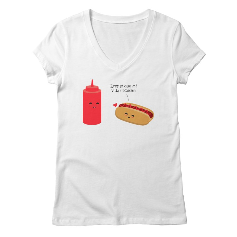 Eres  lo que mi vida necesita Women's Regular V-Neck by damian's Artist Shop
