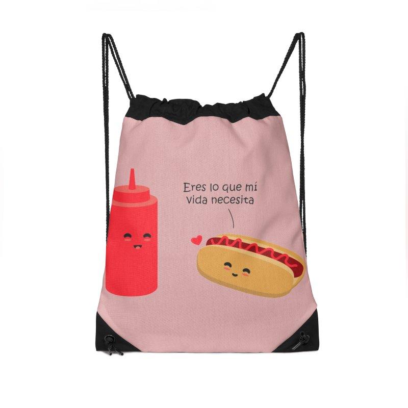 Eres  lo que mi vida necesita Accessories Drawstring Bag Bag by damian's Artist Shop