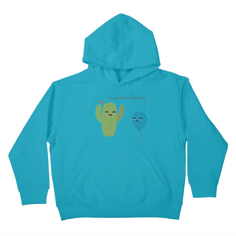 Tus abrazos son peligrosos Kids Pullover Hoody by damian's Artist Shop