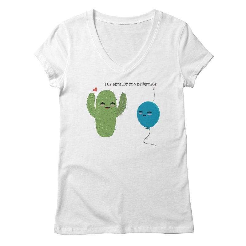 Tus abrazos son peligrosos Women's Regular V-Neck by damian's Artist Shop