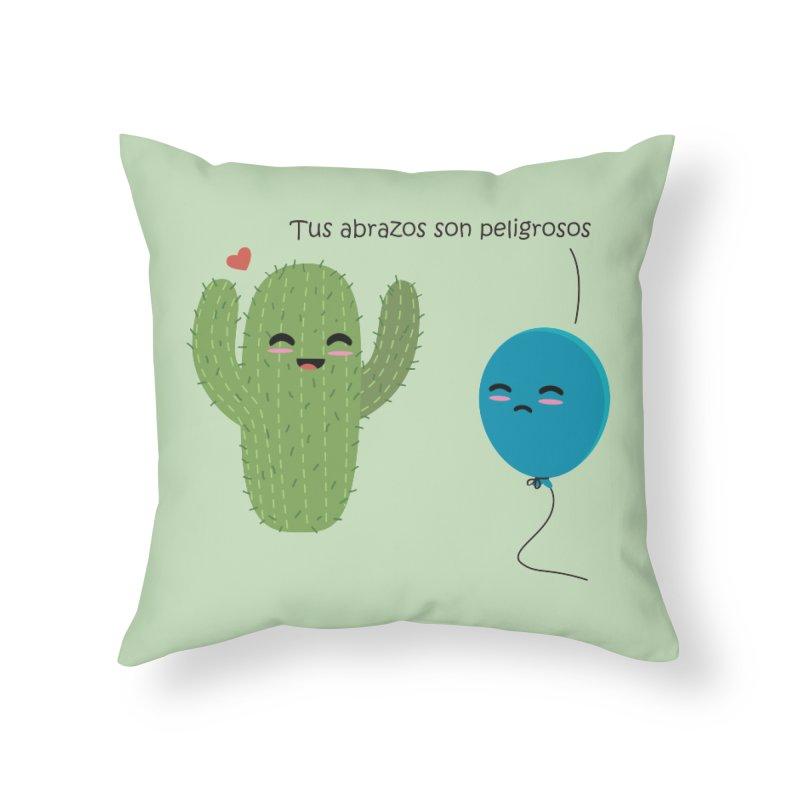 Tus abrazos son peligrosos Home Throw Pillow by damian's Artist Shop