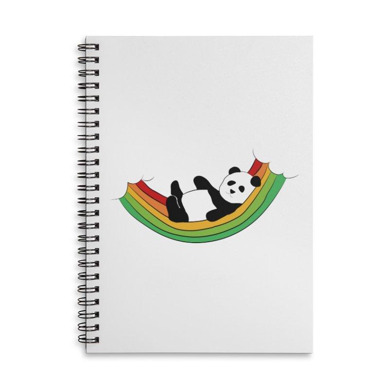 Arcoiris_osoPanda Accessories Lined Spiral Notebook by damian's Artist Shop