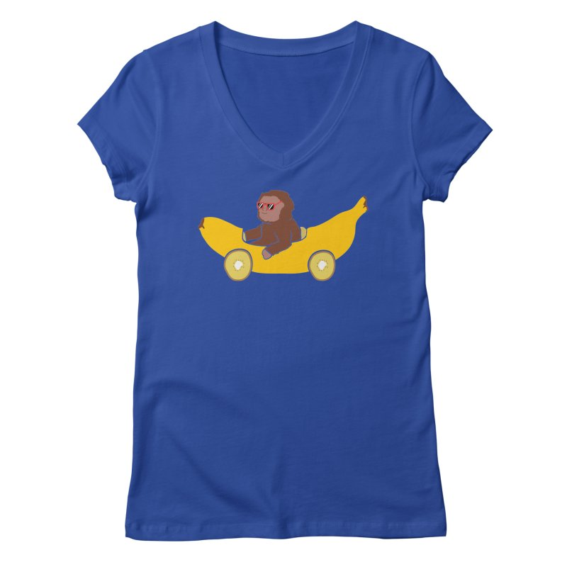 Banana Car Women's Regular V-Neck by damian's Artist Shop