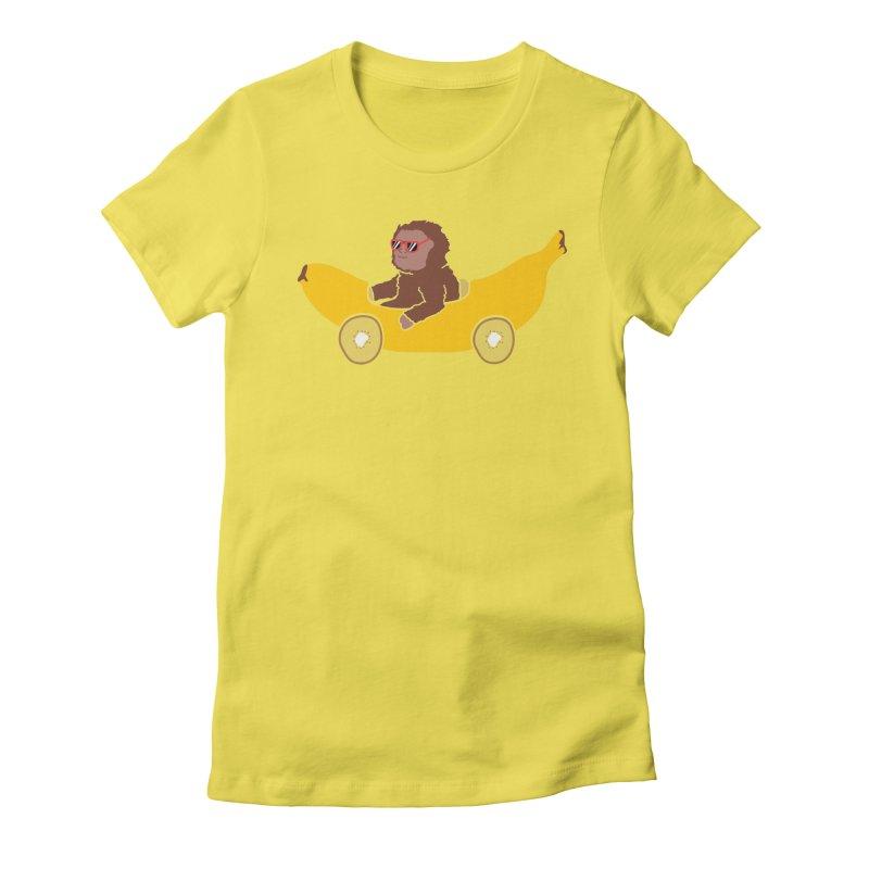 Banana Car Women's Fitted T-Shirt by damian's Artist Shop