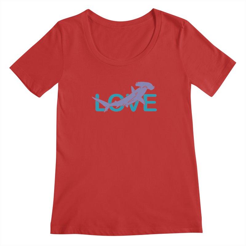 LOVE TIBURON Women's Regular Scoop Neck by damian's Artist Shop