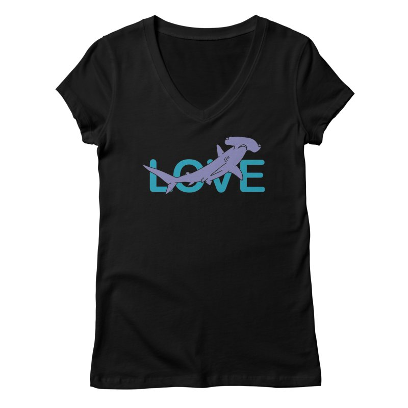 LOVE TIBURON Women's Regular V-Neck by damian's Artist Shop