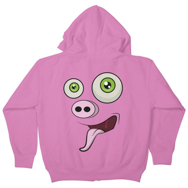 cerdo face Kids Zip-Up Hoody by damian's Artist Shop