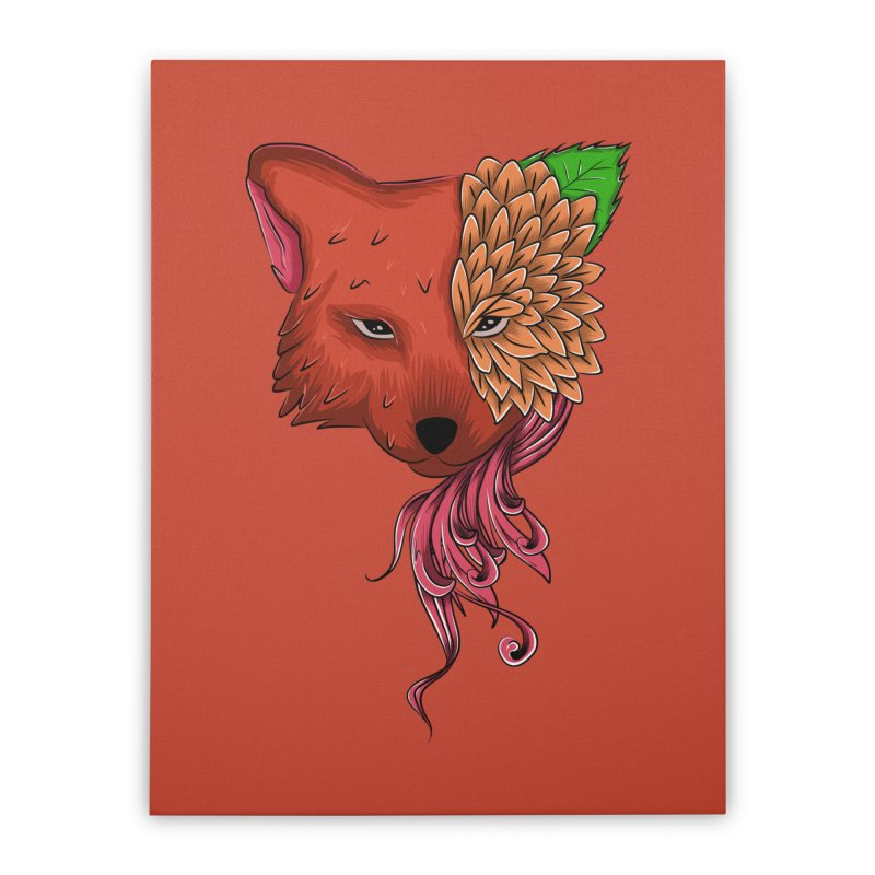 Fox flower Home Stretched Canvas by damian's Artist Shop