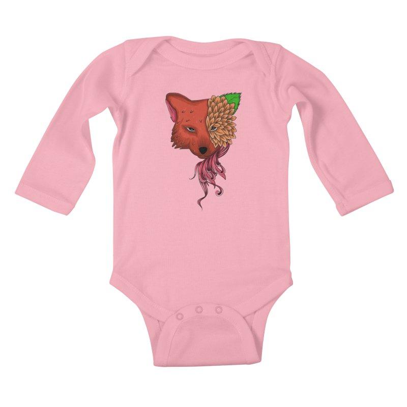 Fox flower Kids Baby Longsleeve Bodysuit by damian's Artist Shop