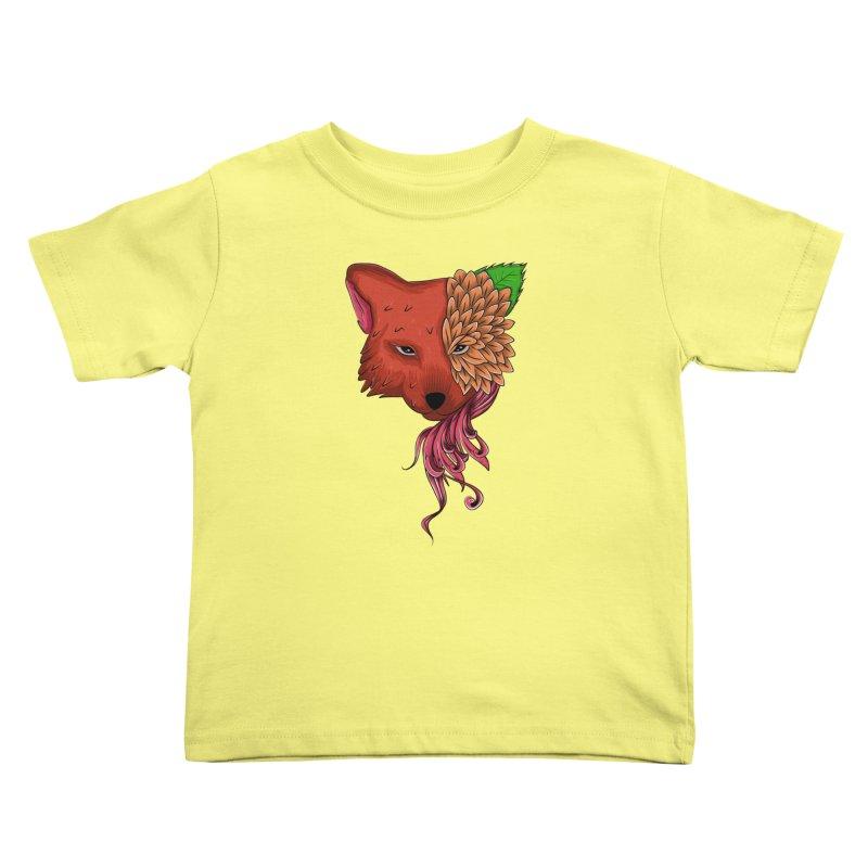 Fox flower Kids Toddler T-Shirt by damian's Artist Shop