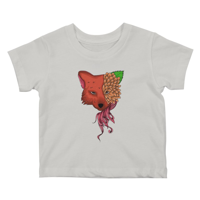 Fox flower Kids Baby T-Shirt by damian's Artist Shop