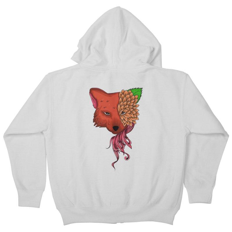 Fox flower Kids Zip-Up Hoody by damian's Artist Shop