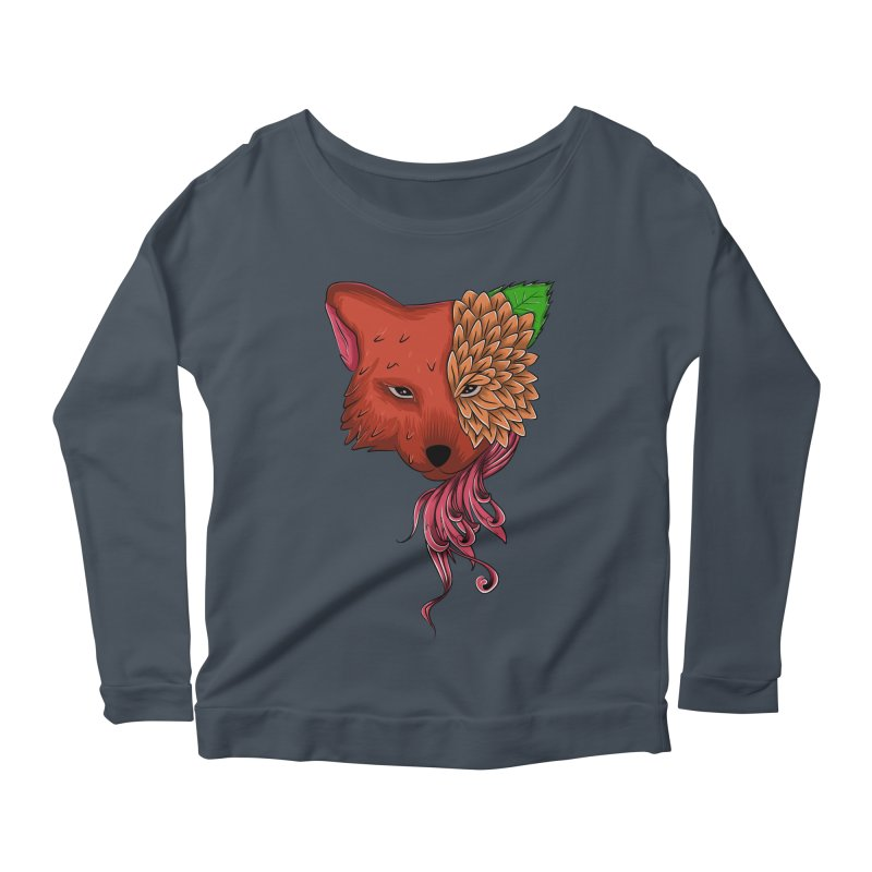 Fox flower Women's Longsleeve Scoopneck  by damian's Artist Shop