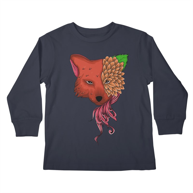 Fox flower Kids Longsleeve T-Shirt by damian's Artist Shop